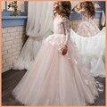 Нарядное платье с цветочным узором для маленьких девочек детские розовые сетчатые Бальные платья с длинными рукавами и бабочками Детские п...