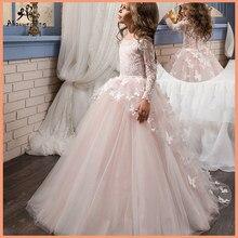 90efa69e5bf74 Fantaisie fleur bébé fille robe enfant manches longues papillon rose maille robes  de bal enfants sainte