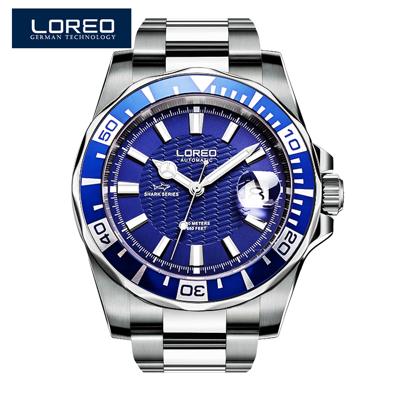 LOREO Design Watches Steel Brand Automatic Mechanical Watch Men Diver Watches 200M Waterproof Auto Date Luminous Watch AB2076