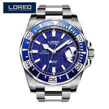 Loreo дизайн часы стали Brand автоматические механические часы мужчины дайвер часы 200 м водонепроницаемый Авто Дата световой часы AB2076