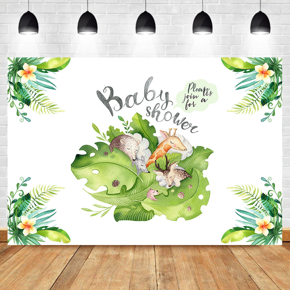 In Humble Neoback Animal Jungle Theme Baby Shower Photography Backdrops Newborn Baby Cake Background Flower Dessert Table Decorate Props Exquisite Workmanship