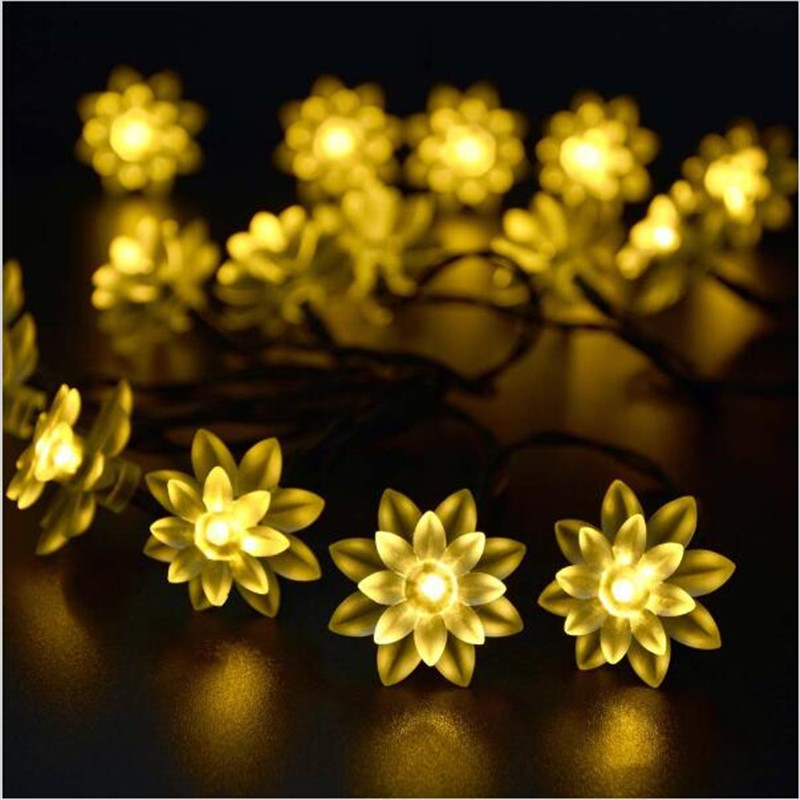 50LEDs Fairy Lotus Flower LED Solar Lamp Outdoor Waterproof Decoration Christmas Garden Holiday Power String Lights