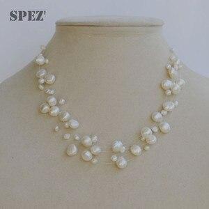 Image 4 - Collier de perles deau douce naturelles pour femmes perles baroques 4 8mm 5 rangées bohême bijoux faits à la main mode spez