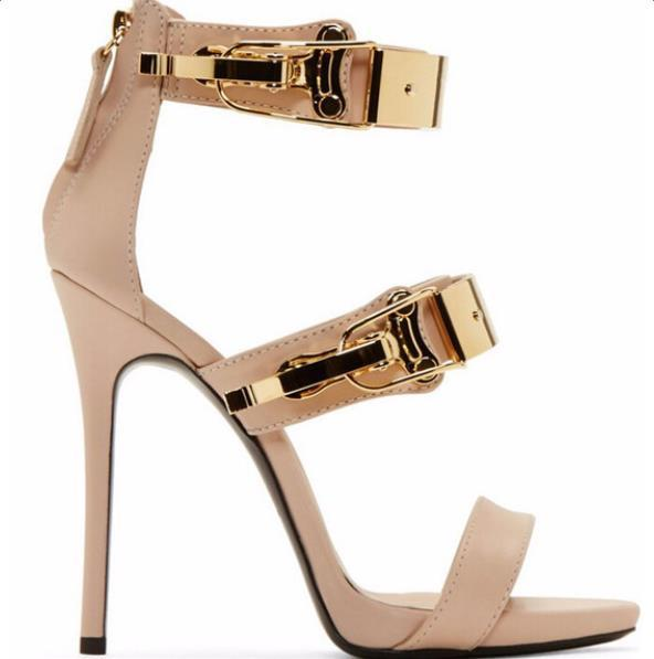 e96ae6fb04587b Big Size 34-42 Hot Selling Black Beige Leather Gold Sequined High Heel  Sandal Peep Toe Cut-out Ankle Strap Summer Shoe Drop Ship