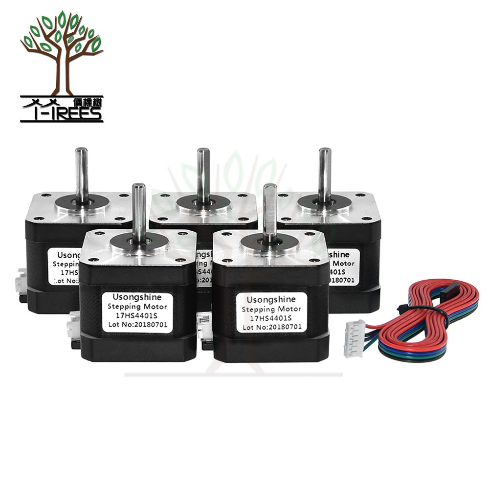 5pcs/lot. Free Shipping 3D printer 4-lead Nema17 Stepper Motor 42 motor Nema 17 motor 42BYGH 1.5A (17HS4401S) motor for CNC XYZ free shipping 5pcs lot isl62882chrtz isl62882c 62882chrtz qfn 100