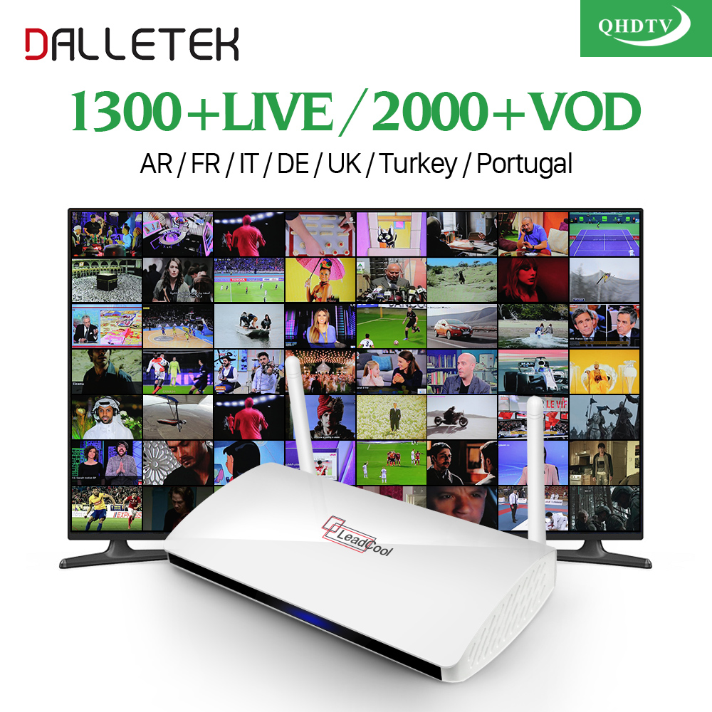 Dalletektv Leadcool Android TV Box 1/8G With 1 Year QHDTV configured Arabic IPTV Europe iptv French Italy Turkey UK IPTV dalletektv leadcool android smart tv box cortex a7 quad core 1g 8g h 265 with iptv europe uk french italy channel subscription