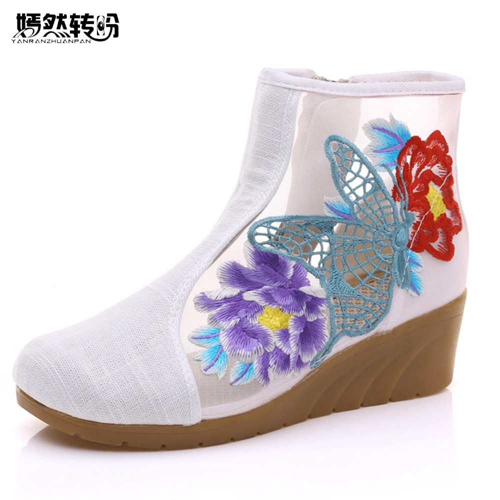 New Summer Women Boots Springs Hollow Butterfly Embroidered Shoes Original Cloth Canvas Floral Fashion Boots