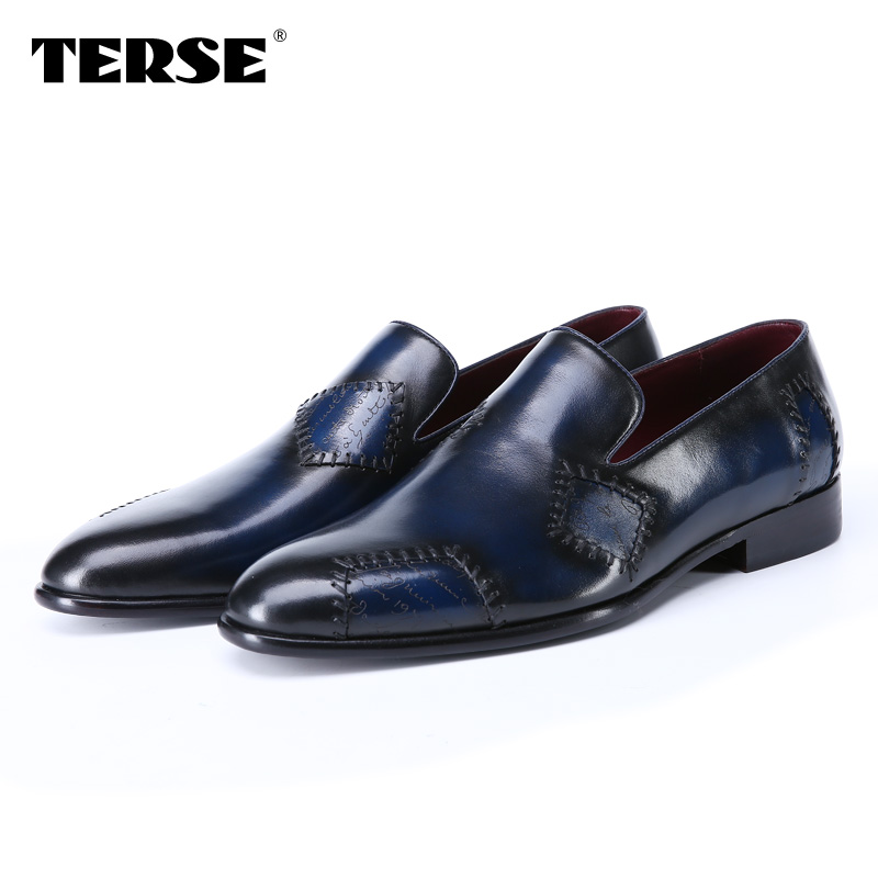 TERSE_2017 Fashion Luxury Men Flat Shoes Italian Genuine Leather Handmade Business Dress Shoes Patch Footwear Blue Color 008 hot sale mens italian style flat shoes genuine leather handmade men casual flats top quality oxford shoes men leather shoes