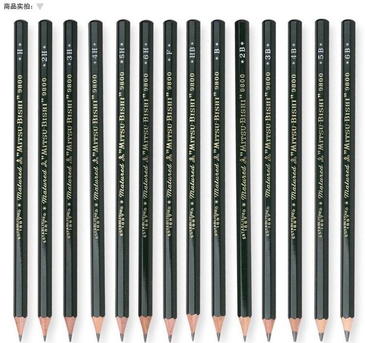 Mitsubishi 9800 Pencil 12 pcs/lot Hardness B/2B/3B/4B/5B/6B  HB/2H/3H/4H/5H/6H  FMitsubishi 9800 Pencil 12 pcs/lot Hardness B/2B/3B/4B/5B/6B  HB/2H/3H/4H/5H/6H  F