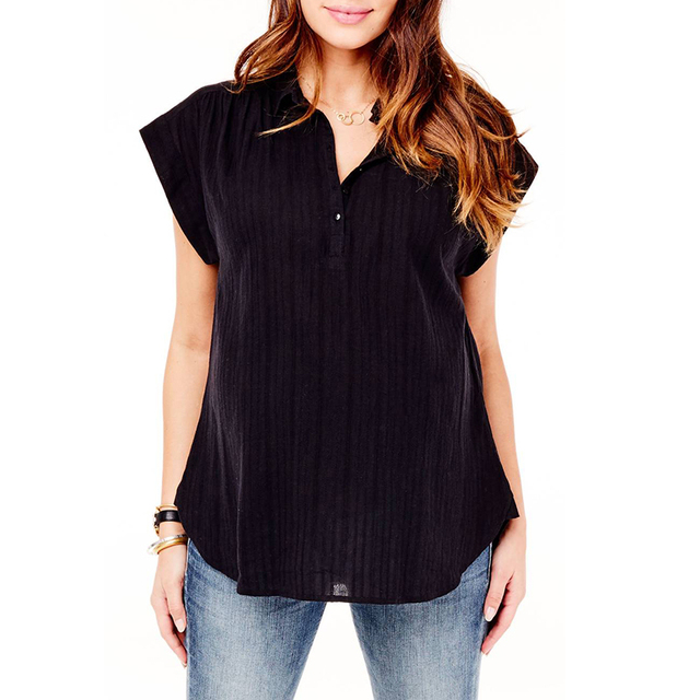 5ce2088f1f9 Women Blouse 2018 Summer Sexy V Neck Short Sleeve Solid Shirts Casual Loose  Plus Size Tops Tees Baggy Asymmetric Blusas Pullover
