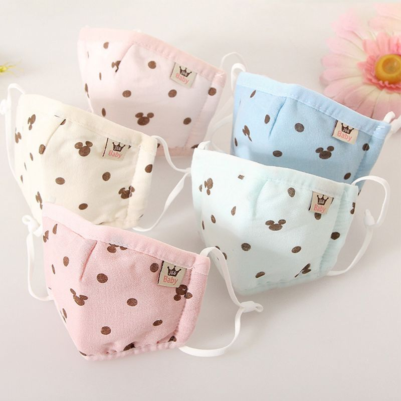 Infant Baby Kids Cotton Anti Dust Mouth Mask Cartoon Polka Dot Cat Printed Candy Color Warmer Washable Adjustable Respirator
