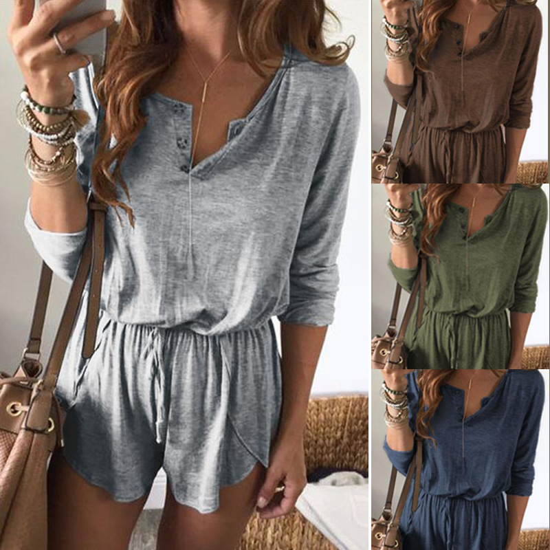 Short Rompers Bodysuit Women Overalls Playsuit Spring Long-Sleeve Sexy V-Neck Femme Casual
