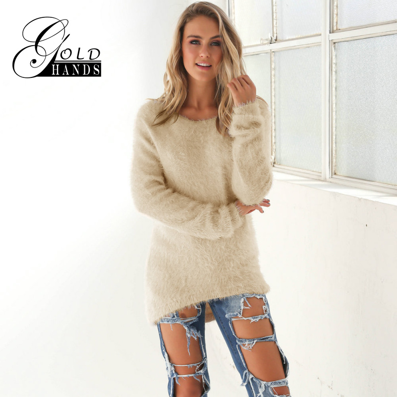 Gold Hands 2017 New Autumn Winter Women Sweater Solid Khaki White Black Mink Style Sweaters Female Knitwear Clothes Long