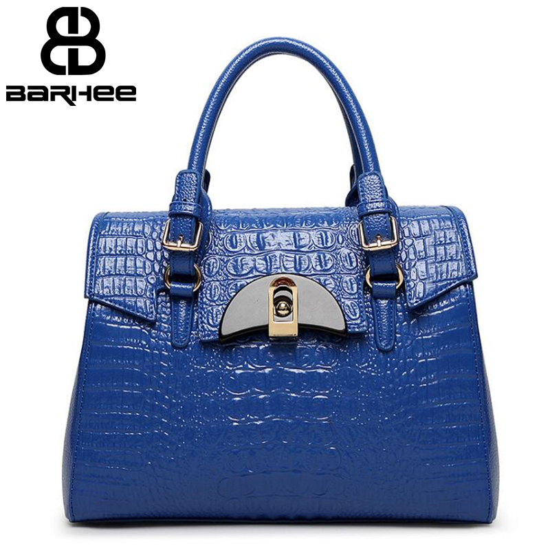 Crocodile Pattern Luxury Shaped Handbags Women Bags Designer Big Alligator Solid Ladies Hand Bags Pochette Patent Leather Tote soar women leather handbags large women bag shoulder bags ladies brand alligator crocodile pattern hand bags tote female blosa 3