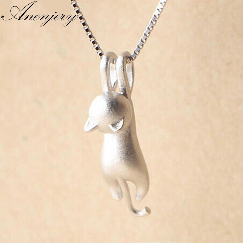 Fast Deliver Anenjery 925 Sterling Silver Necklace Cute Cat Animal Pendants&necklaces For Women Choker Collares S-n166 Fragrant Aroma Necklaces & Pendants