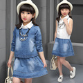 Denim Clothing Suits for Girl Clothing Sets Children Solid Vest+Dress Set Casual Infant Autumn Coat+Vestido Suit 2T 4 6 8 10 12Y