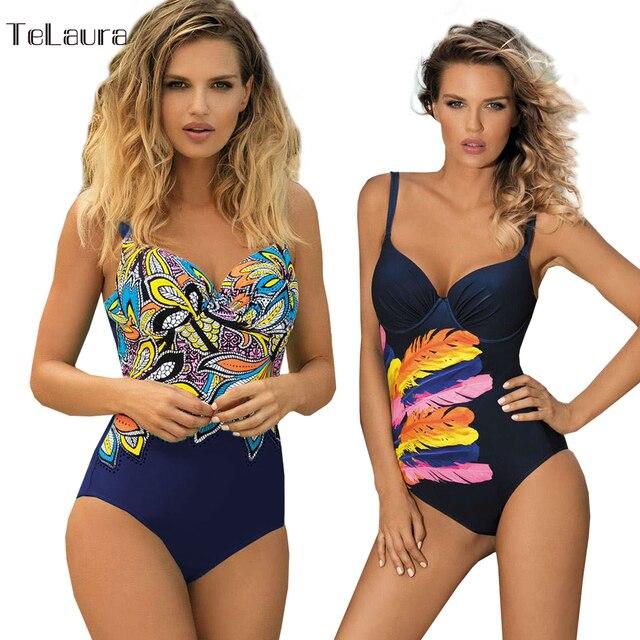ac26137d88 Vindima Um Pedaço Swimsuit Swimwear 2019 Mulheres Empurrar Para Cima Monokini  Bodysuit Plus Size Swimwear Beach