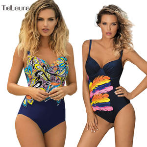 Vintage One Piece Swimsuit Female Plus Size Swimwear Beach Wear Retro Bathing Suit