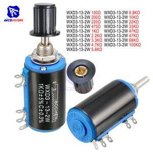 WXD3-13-2W Wirewound Potentiometer Resistance 100R 470R 1K 4.7K 10K 22K 47K 100KΩ Ohm Linear Rotary Potentiometer with Knob(China)