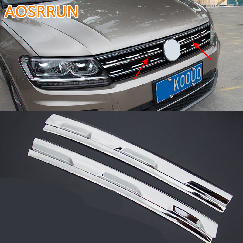 AOSRRUN Car Intake Grille Cover Trim For Volkswagen VW Tiguan 2017 MK2 Car Accessories car styling