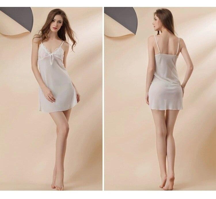 white chiffon sexy lingerie robes set 4