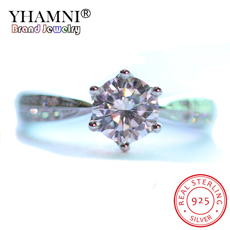 YHAMNI 100% Real 925 Solid Sterling Silver Fashion Rings for Women 6mm CZ Diamant Engagement Wedding Rings Gift Jewelry XJZ259 big promotion 100% original 925 silver wedding rings for women natural solitaire 6mm cz diamant engagement rings jewelry rj003