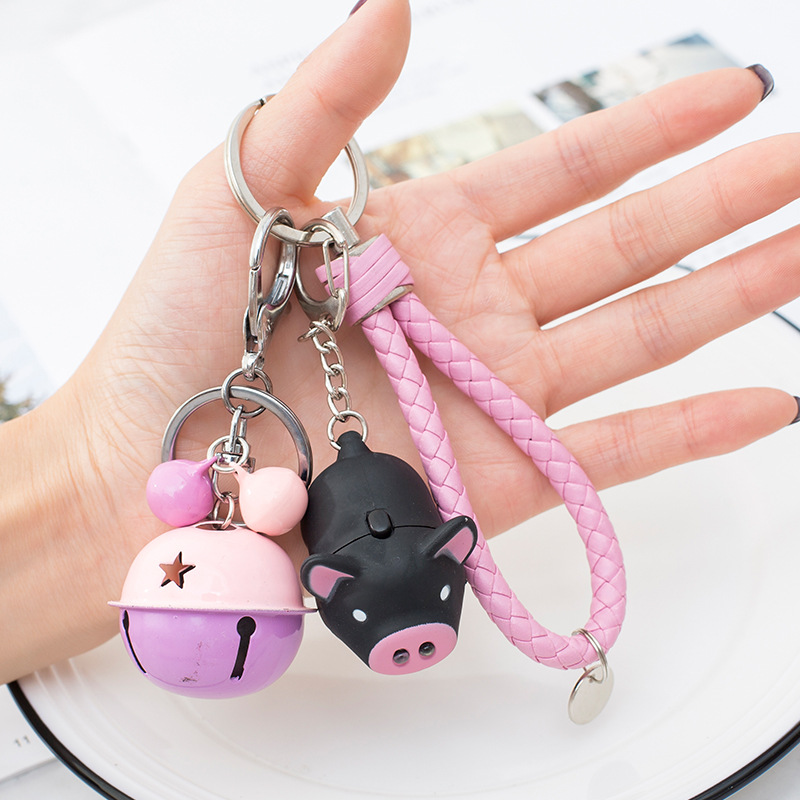 Cute LED Pig Keychain Zodiac Pig Flash Sound Creative Kids Toys Car Keychain Leather Rope Keyring Bag Pendant Gift