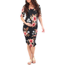 Summer Pregnant Clothes Women'S Short Sleeve Maternity Pregnancy Dress White Ruched Floral Print Maxi Party Vestido Sexy(China)