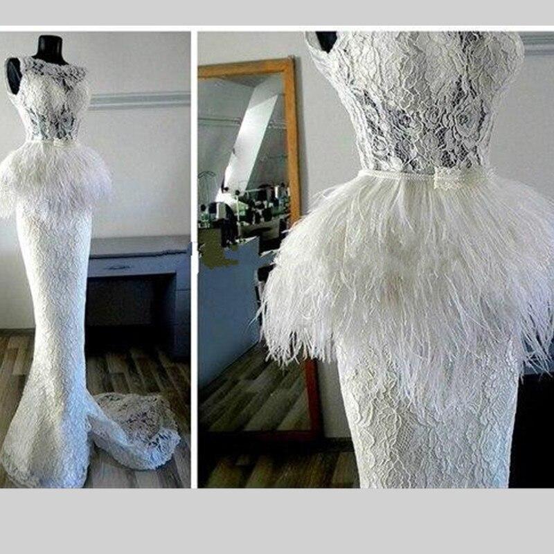 Élégant blanc dentelle Scoope cou sirène robes de soirée 2016 sans manches sur mesure plume robes formelles balayage Train