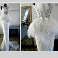 Elegante Blanco de Encaje Scoope Cuello Sirena Vestidos de Noche 2016 Sin Mangas Por Encargo de la Pluma Formal de Los Vestidos de Tren de Barrido