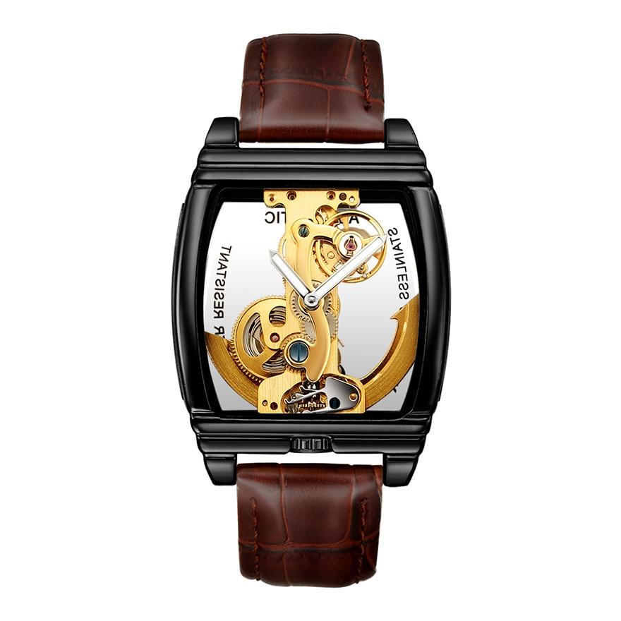 HTB15BIYSAvoK1RjSZFwq6AiCFXal Transparent Automatic Mechanical Watch Men Steampunk Skeleton Luxury Gear Self Winding Leather Men's Clock Watches montre homme