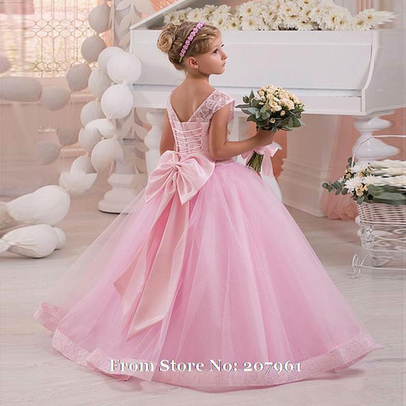 Romantic 2016 pink flower girl dresses for weddings ball for Dress for girl for wedding