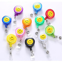 20 Pcs Lot Smail Face Retractable ID Badge Holder Reel Pull Key Name Tag Card Holders