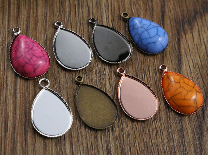 20pcs 13x18mm Inner Size 6 Colors Plated Drop Style Brass Cameo Cabochon Base Setting Charms Pendant Necklace Findings
