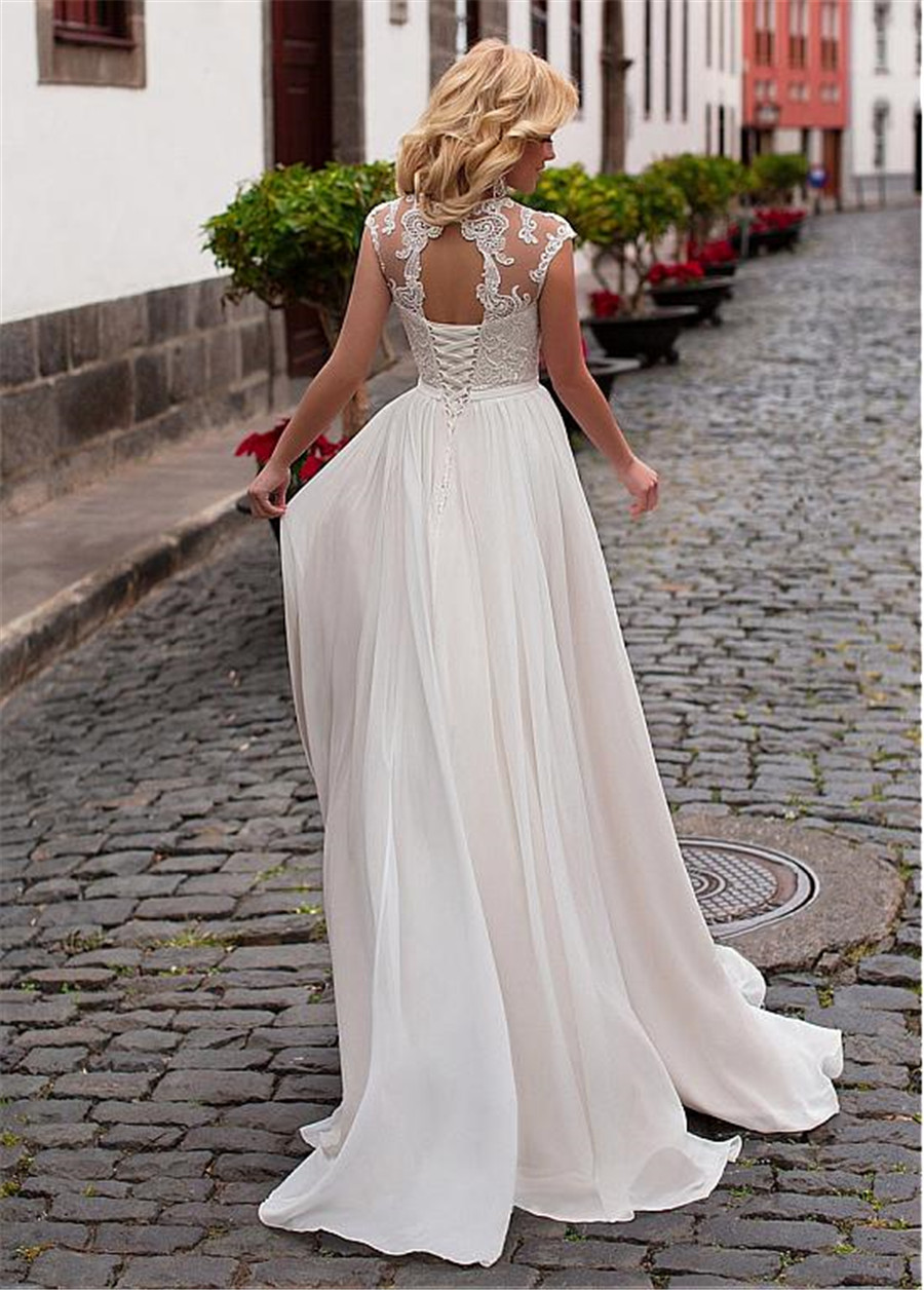 Image 4 - Charming Chiffon Jewel Neckline A Line Wedding Dress With Lace Appliques & Belt Lace Up Bridal Dress vestidos de 15-in Wedding Dresses from Weddings & Events