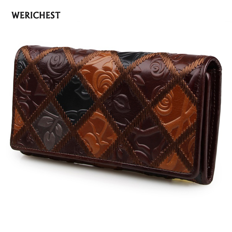 Free Shipping Luxury 100 Genuine Leather Wallet Purses Long Vintage Wallet Women Leather Wallet