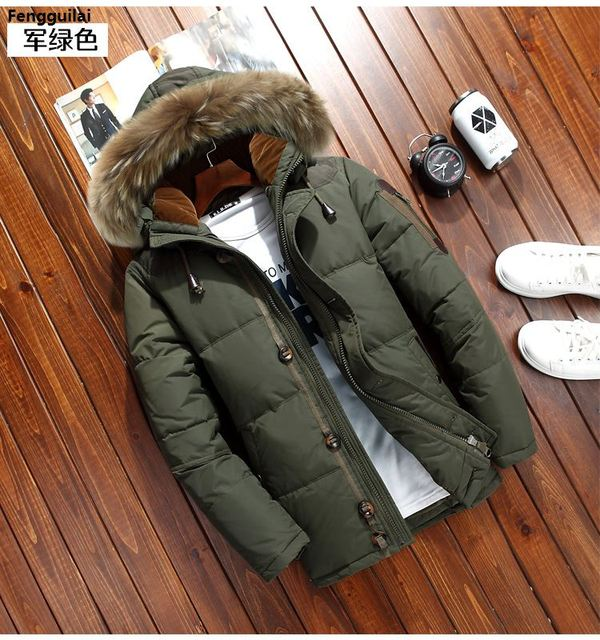 47d6f572446 2018 Men 'S Parkas Jacket Winter Jacket Men Fashion Thickening Fur Hooded  Army Green Down