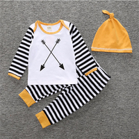 Fashion New Baby Boy Clothing Set Long-Sleeved Romper+Pants+Hat 3Pcs Newborn Baby Clothes Stripe Style Baby Suit