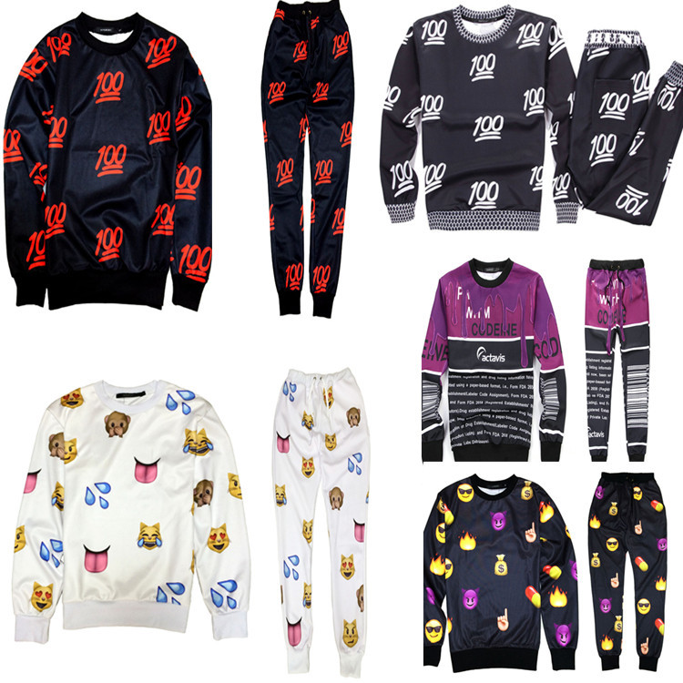 2016 New 100 Emoji Tracksuit Print Cute Cartoon Sweat Suit