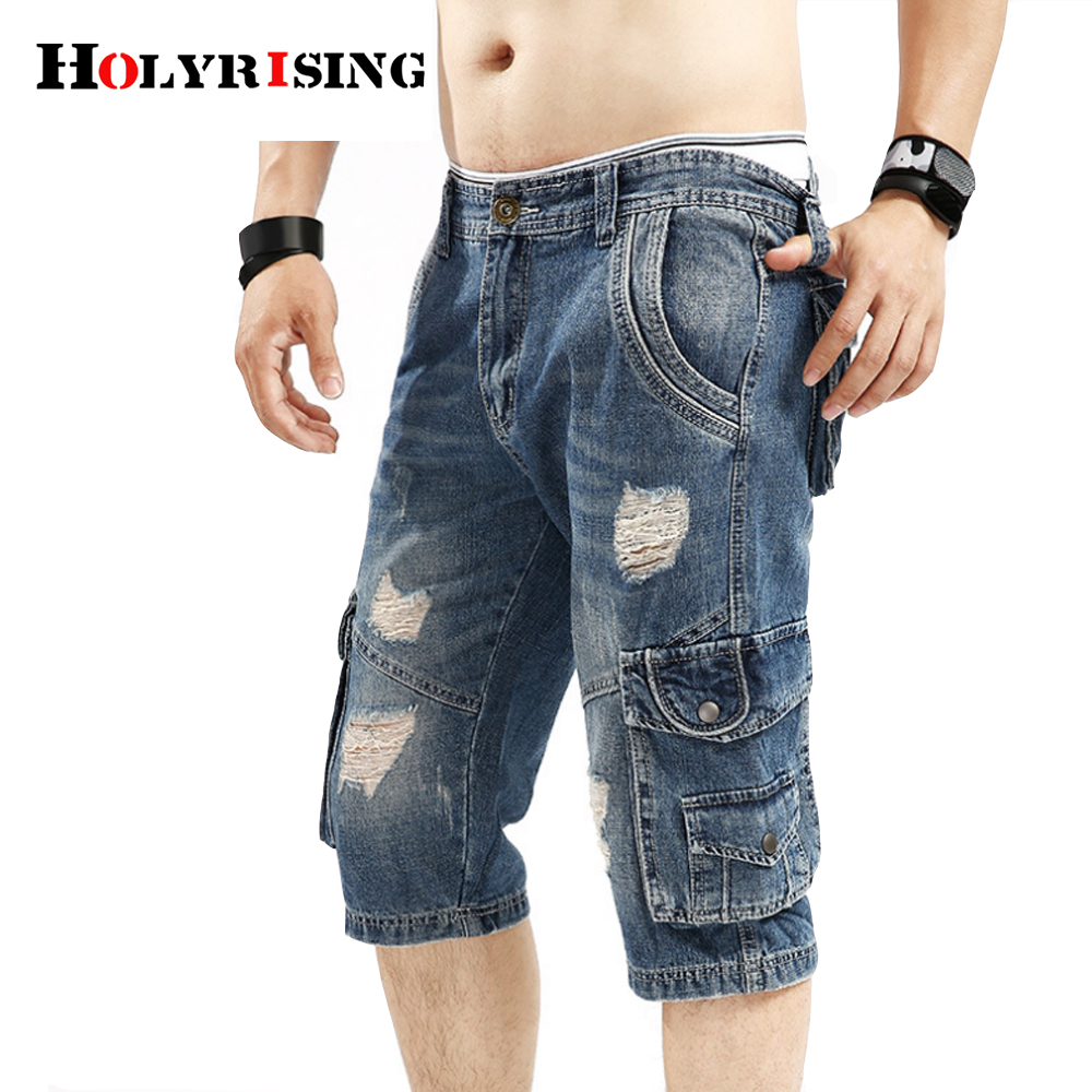 Mens Retro Cargo Denim Shorts Vintage Acid Washed Faded Multi-Pockets Military Style Holes 100% Cotton Short Jeans 18392-5 denim