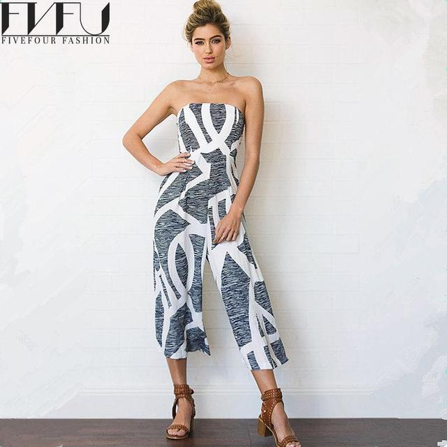 3453f06c913 Fashion 2018 Rompers Women Jumpsuit Summer Off Shoulder Jumpsuits Casual  Bohemia Wide Leg Pants Loose Striped Jumpsuit Plus Size
