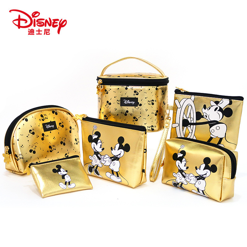 Disney Mummy Bag PU Leather Classic Gold Mickey Mouse Multi-function Woman Bag Cosmetic Wallet Purse Coin Handheld Bag Baby Care