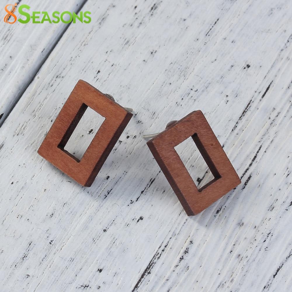 8SEASONS Fashion Natural Wood Stud Earrings New Design Rectangle Earrings Fashion Jewelry 16mm x12mm( 5/8 x 4/8), 1 Pair