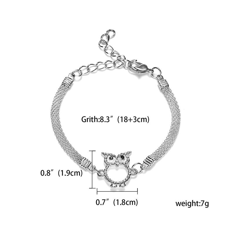 Серебряный браслет регулируемый горный хрусталь синий глаз звезда рука Пальма Seastar маленький кот шарм браслеты для женщин Свадебные украшения - Окраска металла: OWL