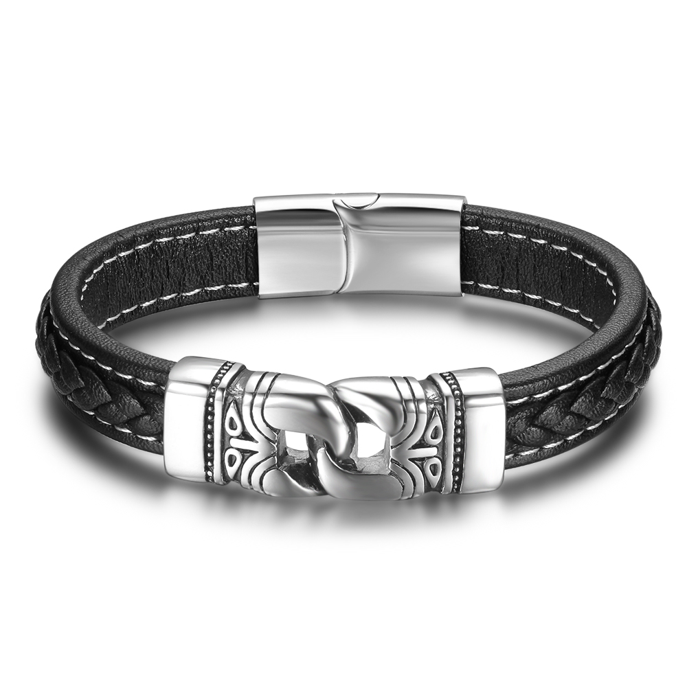 Fashion Stainless Steel Chain Leather Bracelet Black 220mm Bracelets&Bangles Men Vintage Male Braid Jewelry for Men(BA101882)