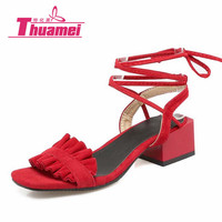 Women S Fashion High Heels Sandals Lace Up Sexy Platform Women Sandals Spring Summer Shoes Woman