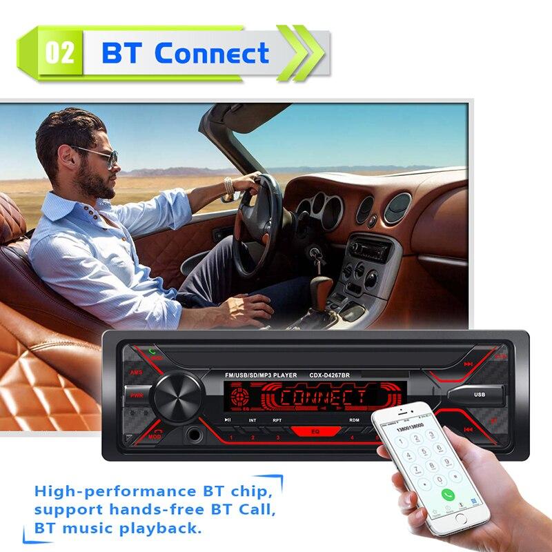 Nouveau 7 lumières amovible panneau voiture MP3 voiture Bluetooth lecteur U disque carte machine avec télécommande D4267
