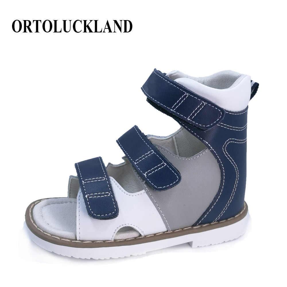 9a1ebb520 Обувь для мальчиков высокая жесткая корова спилок ортопедическая обувь детей  из натуральной кожи сандалии д