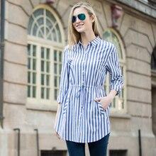 Veri Gude Women's Striped Long Shirt Casual Drawstring