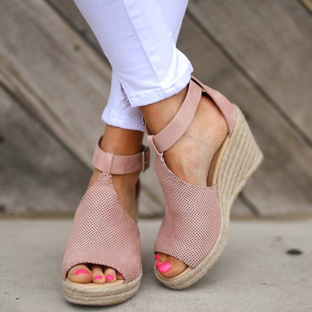 2019 Summer Sandals Women Fashion Flock Wedges High Ankle Outdoor Sandals Peep Toe Casual Shoesfemme Ete Shoes  F1255